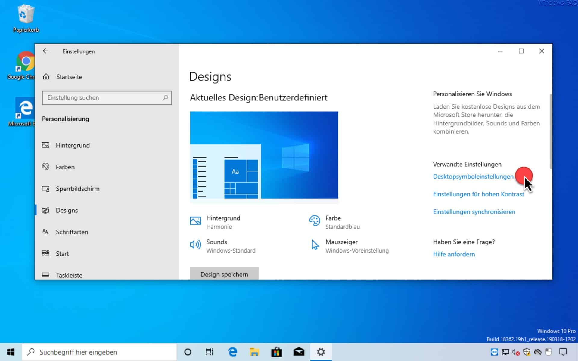 Desktopsymboleinstellungen aufrufen
