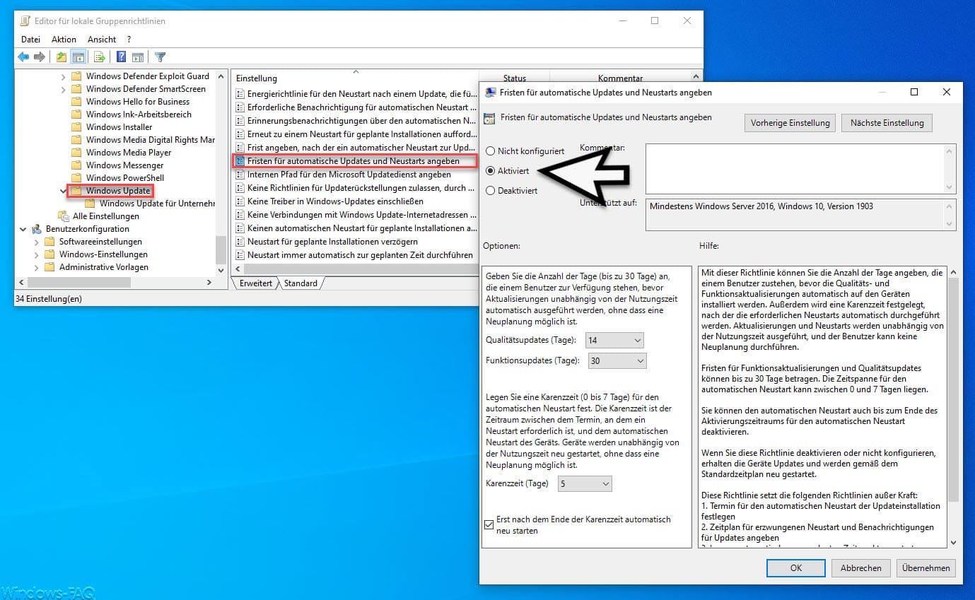 Fristen für automatische Updates und Neustarts angeben