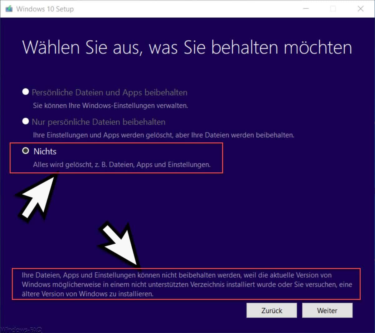 Ihre Dateien, Apps und Einstellungen können nicht beibehalten werden, weil die aktuelle Version von Windows...