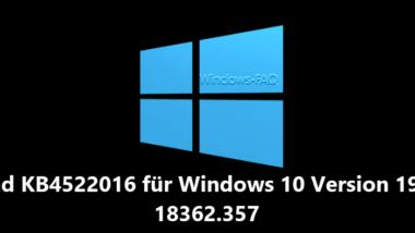 Download KB4522016 für Windows 10 Version 1903 Build 18362.357