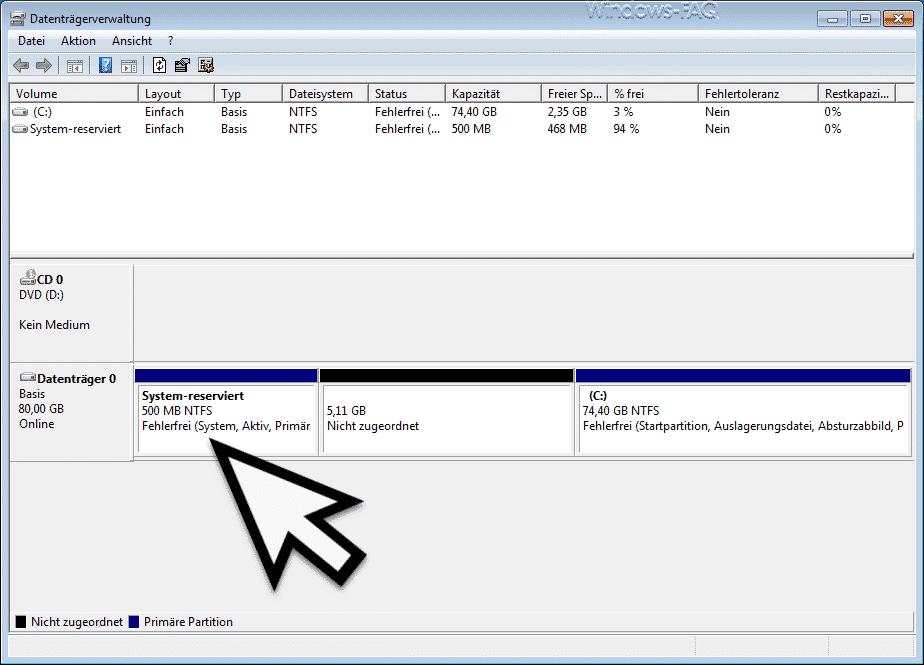 Vergrößerte Windows System-Reserviert Partition