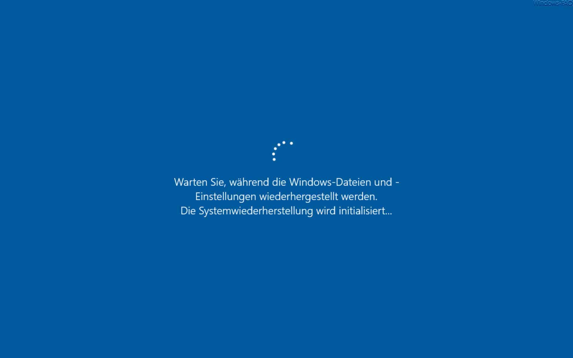 Warten Sie, während die Windows-Dateien und -Einstellungen wiederhergestellt werden.