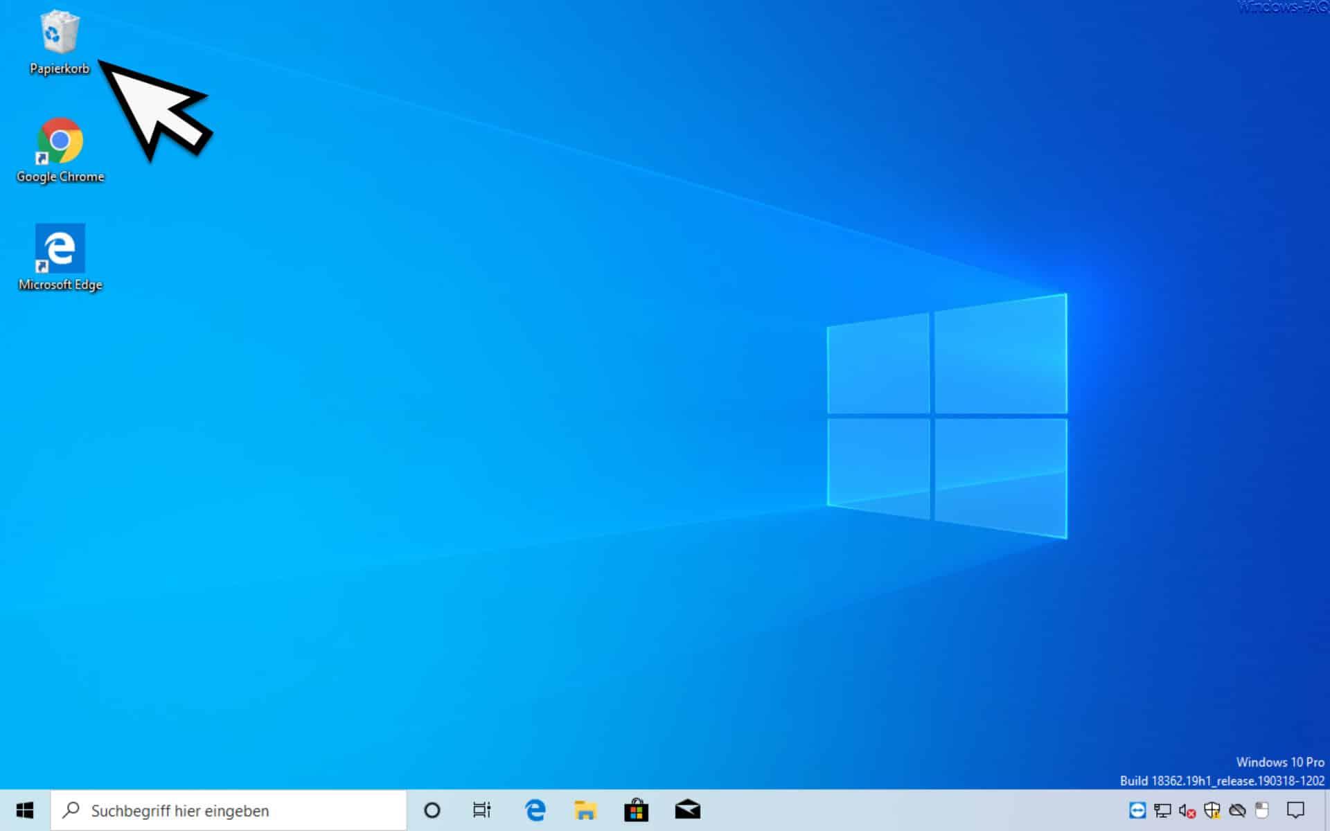 Windows 10 Desktop ohne die Standard Desktopsymbole