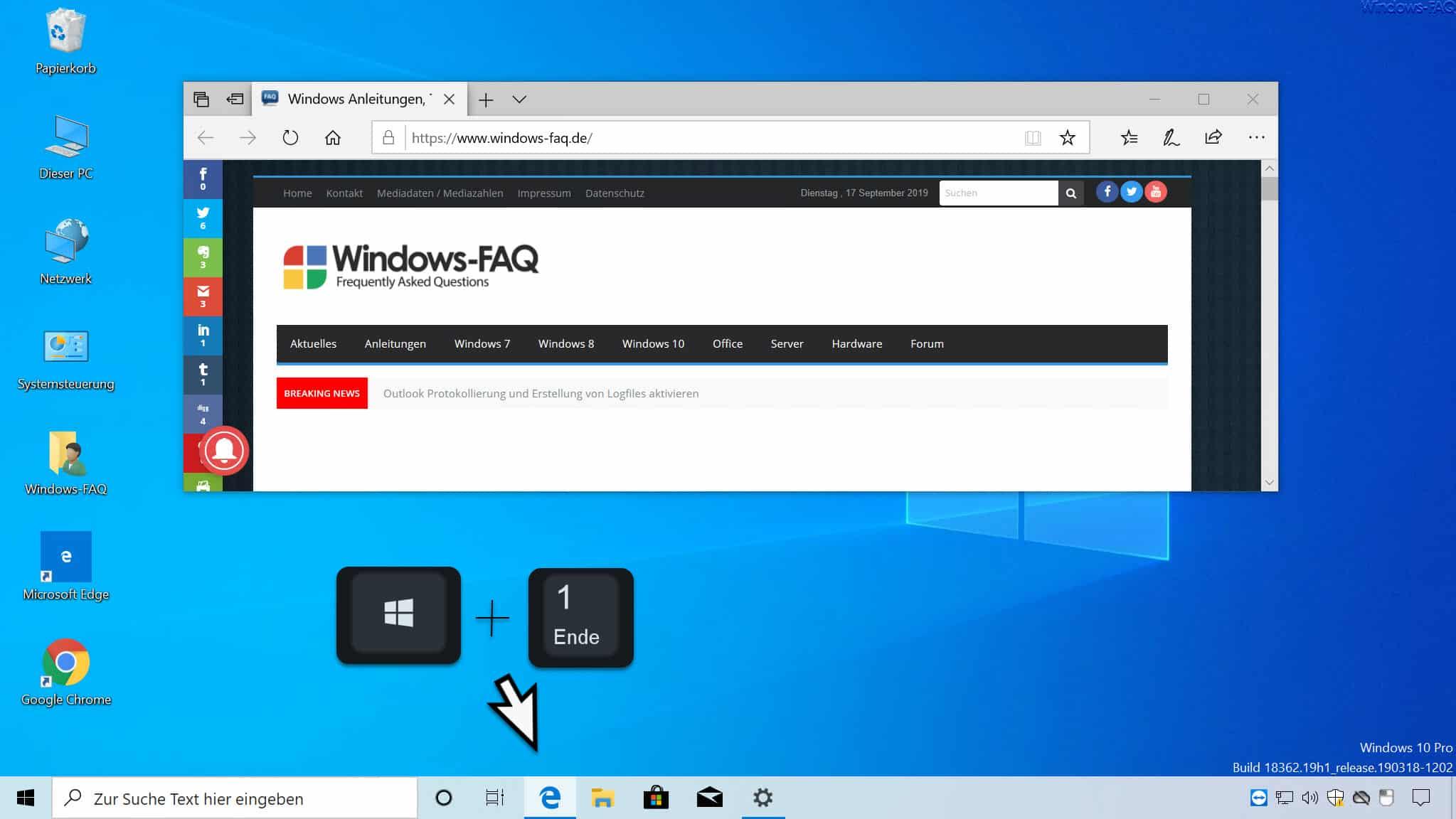 Windows-Taste + 1