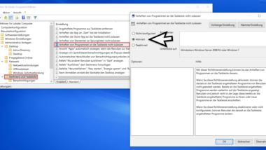 Das Anheften von Programmen an die Windows Taskleiste verhindern