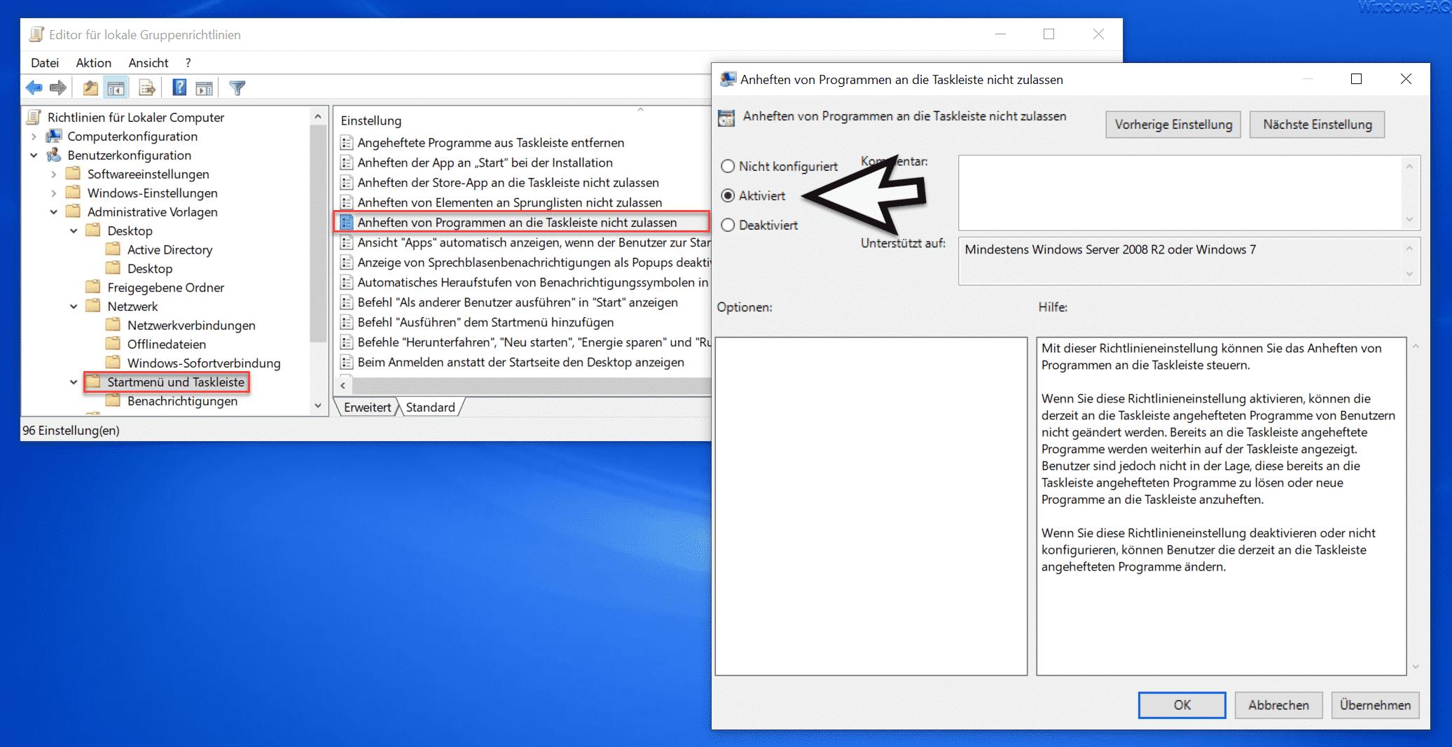 Anheften von Programmen an die Taskleiste nicht zulassen