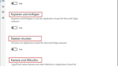 Windows Defender Application Guard Einstellungen bei Windows 10 (WDAG)