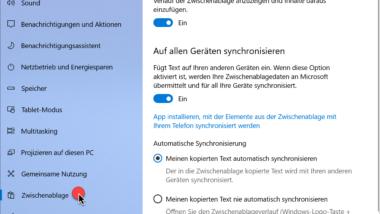 Cloud Zwischenablage bei Windows 10 deaktivieren bzw. konfigurieren