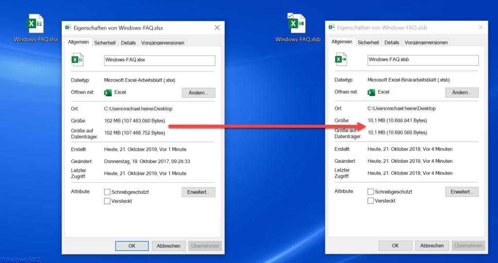 Excel Datei verkleinern mit XLSB Format