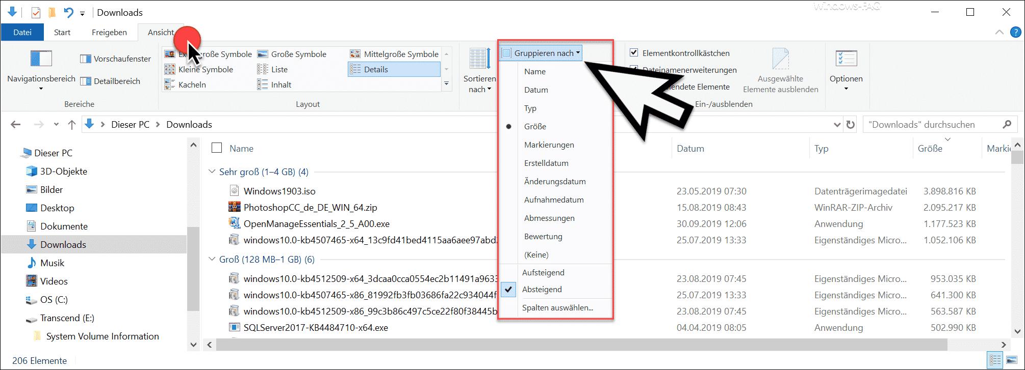 Gruppieren nach - Windows Explorer