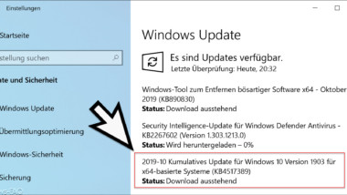 Download KB4517389 Update für Windows 10 Version 1903 Build 18362.418