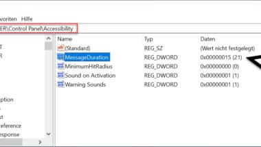 Dauer der Nachrichten des Windows 10 Infocenters per Registry anpassen