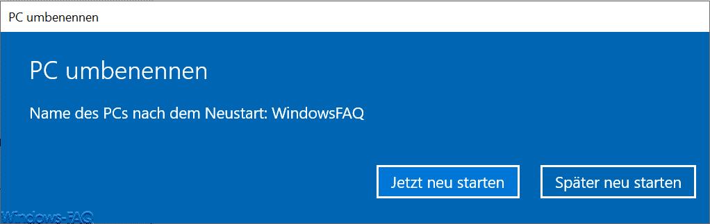 Name des PCs nach dem Neustart