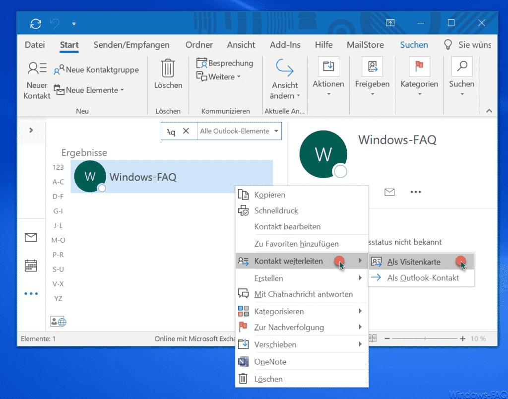 Outlook Kontakt weiterleiten als Visitenkarte