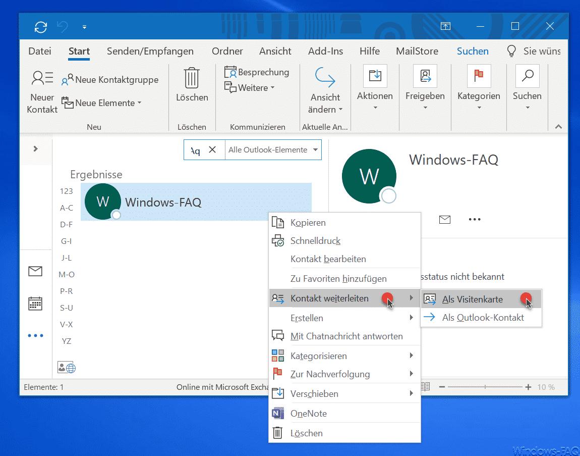 Kontakt Als Visitenkarte Versenden Im Outlook E Mail