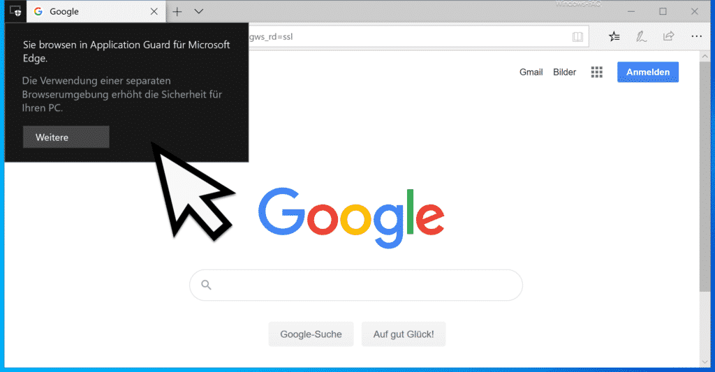 Sie browsen in Application Guard für Microsoft Edge