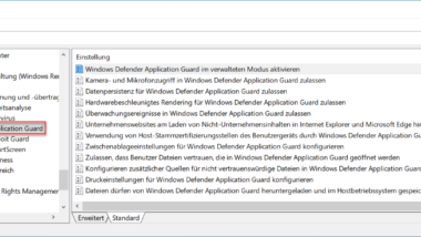 Windows Defender Application Guard per Gruppenrichtlinie konfigurieren