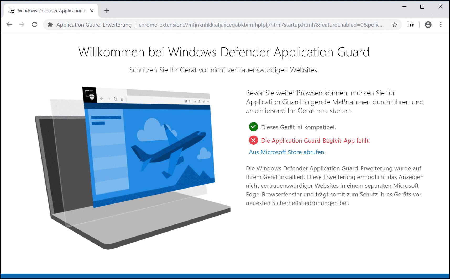 Willkommen bei Windows Defender Application Guard - Begleit App fehlt