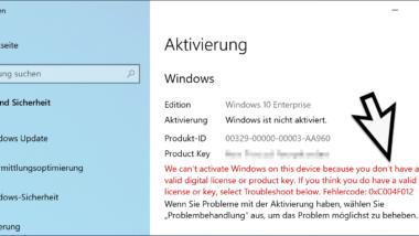 Windows Aktivierungs-Fehlercode 0xC004F012