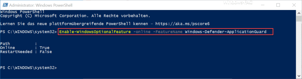 Windows Defender Application Guard - Installation per PowerShell