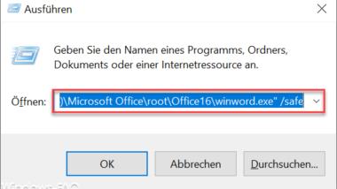Parameter von Microsoft Word 2016