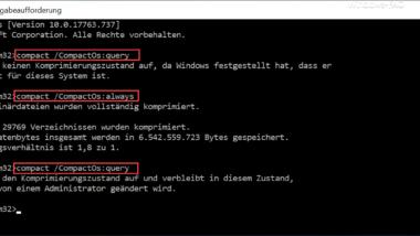 """Windows Systemkomprimierung per """"Compact"""" Befehl aktivieren"""