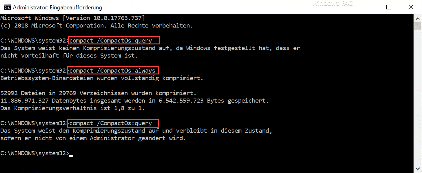 compact CompactOs query und always