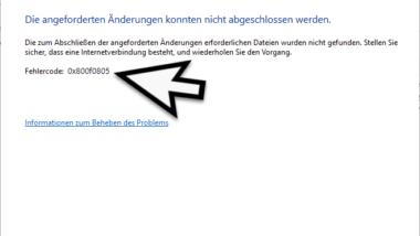 0x800f0805 Fehlercode beim Installieren von .Net Framework oder anderen Windows Features