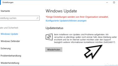 Fehlercode 0x80246017 beim Windows Update