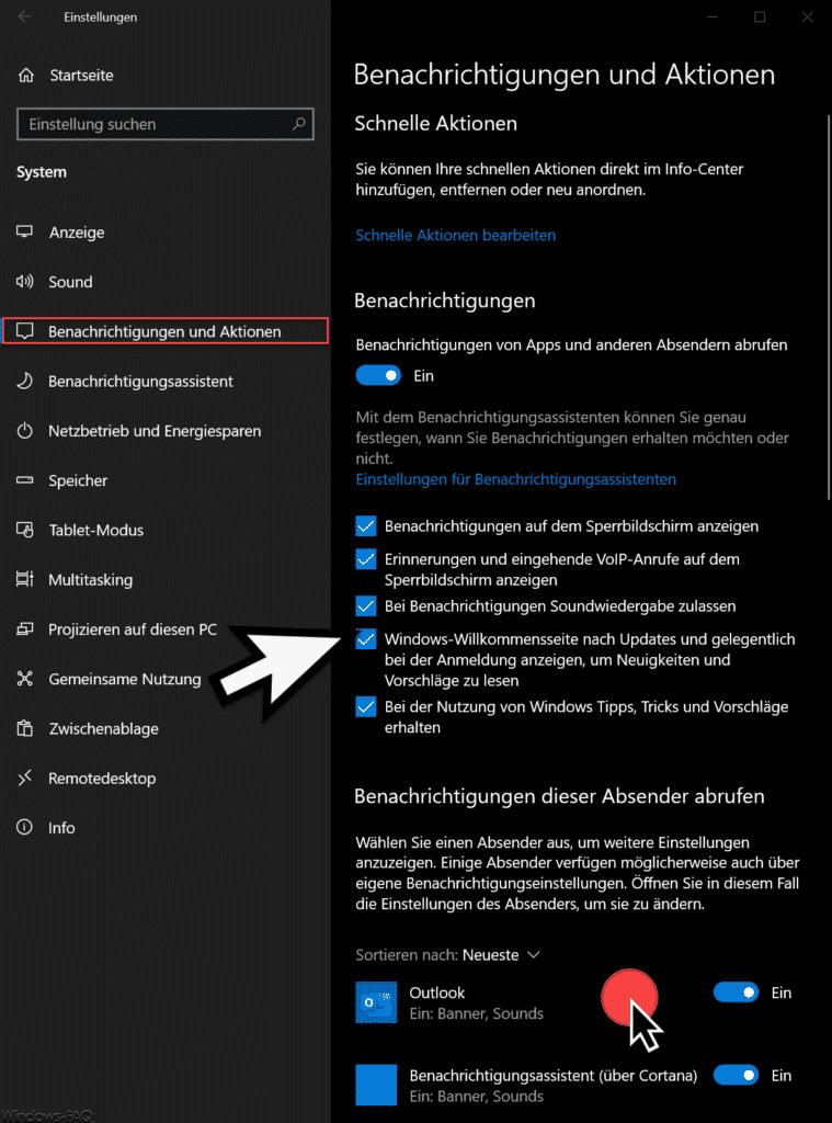 Bachrichtigungen Änderungen Windows 10 Version 1909