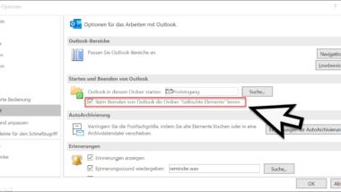 """Beim Beenden von Outlook immer den Ordner """"Gelöschte Elemente"""" automatisch leeren"""