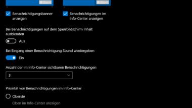 Neue Benachrichtigungs-Einstellungen in Windows 10 Version 1909