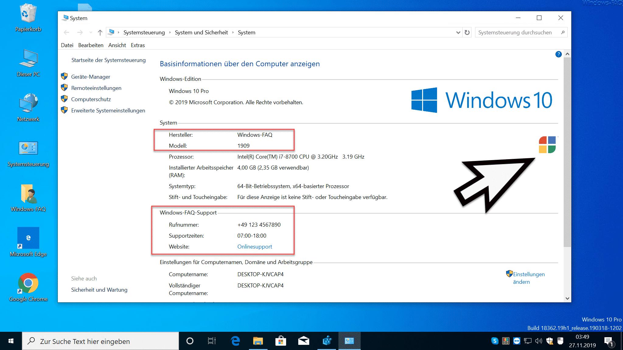 Computerinformationen per Registry ergänzt