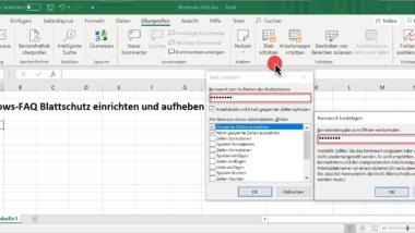 Wie kann der Excel Blattschutz eingerichtet bzw. aufgehoben werden?