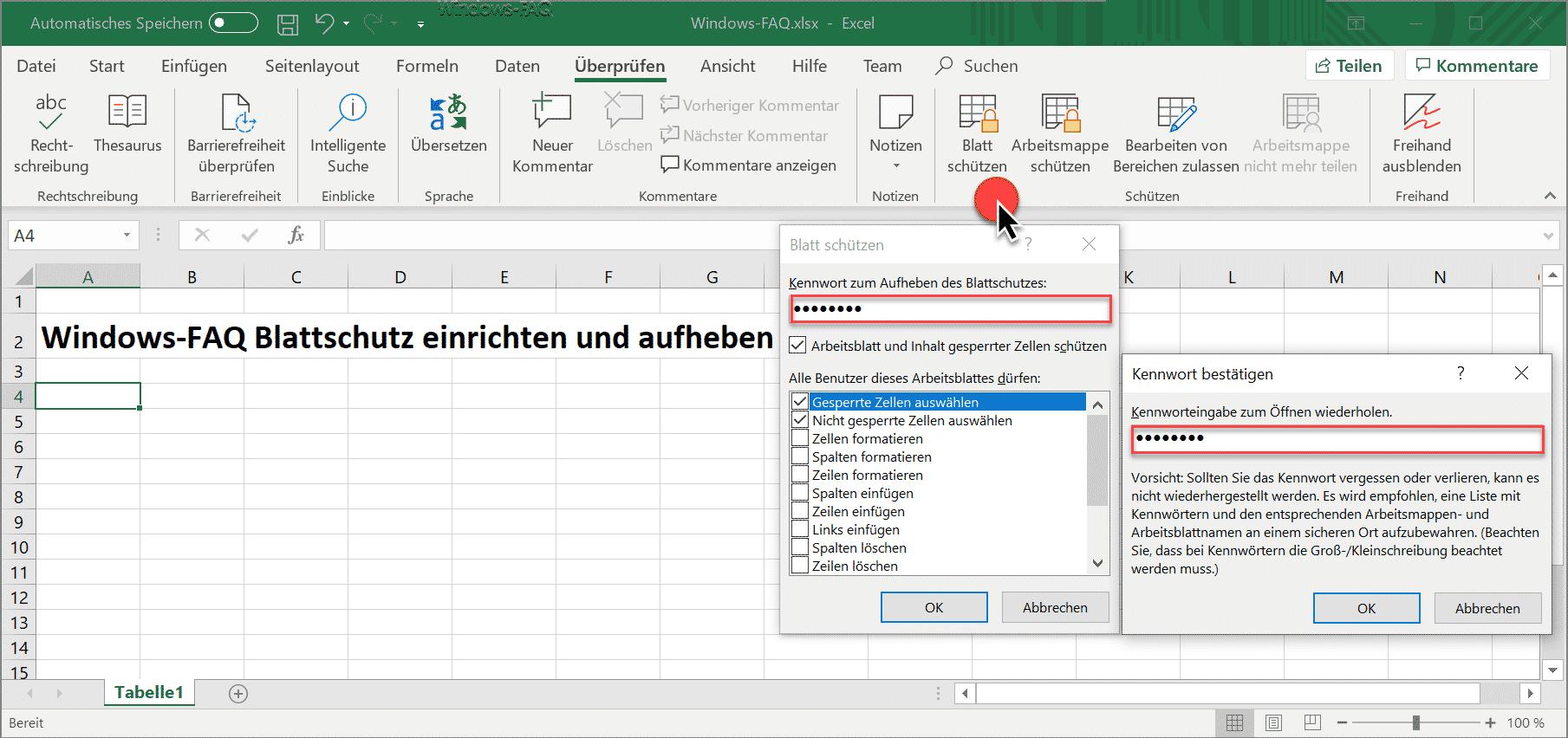 Excel Blatt Schützen