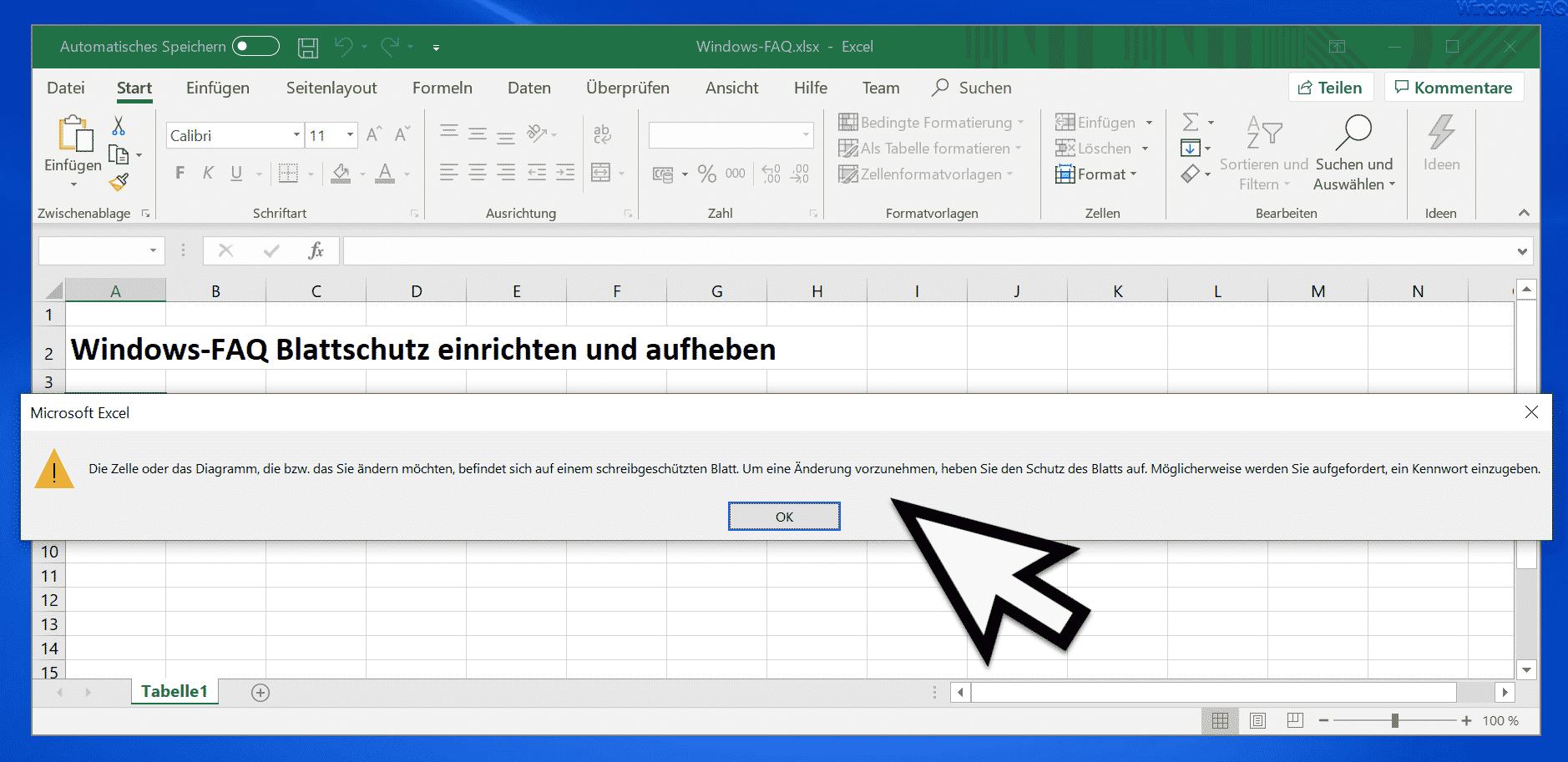 Excel Meldung schreibgeschütztes Blatt