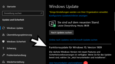 Wie funktioniert das Upgrade auf Windows 10 Version 1909