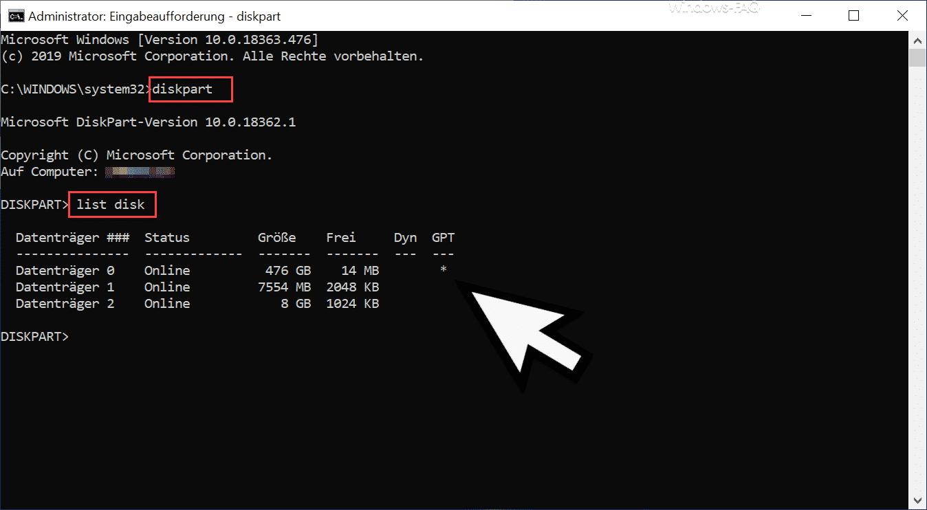 GPT Datenträger Diskpart