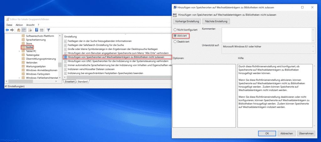 Hinzufügen von Speicherorten auf Wechseldatenträgern zu Bibliotheken nicht zulassen