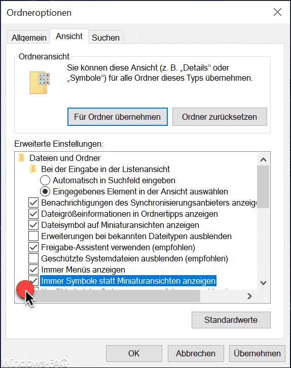 Immer Symbole statt Miniaturansichten anzeigen - Option Windows Explorer
