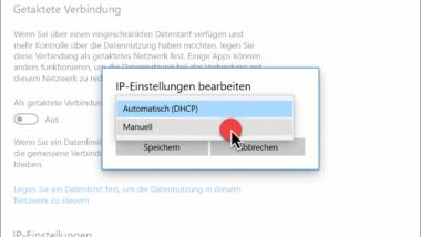 Statische IPv4 oder IPv6 Adresse in der Windows 10 Einstellungs-App setzen