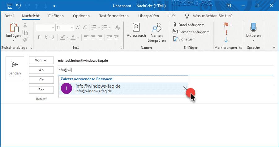 Outlook Autovervollständigen Vorschlag