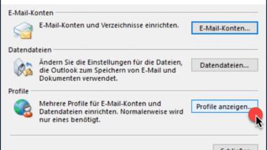 Outlook Profil löschen