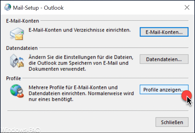 Outlook Profile anzeigen