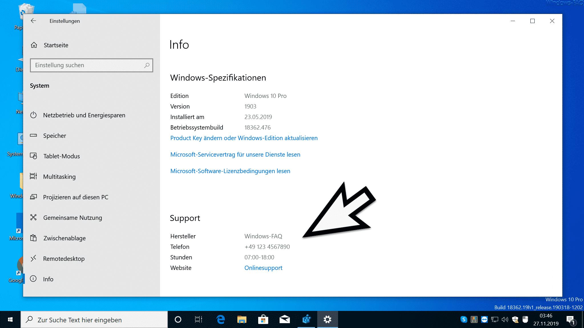 Support Informationen Windows 10