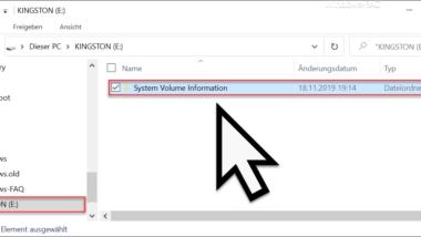 """Automatische Erstellung des Ordners """"System Volume Information"""" auf USB-Sticks deaktivieren"""