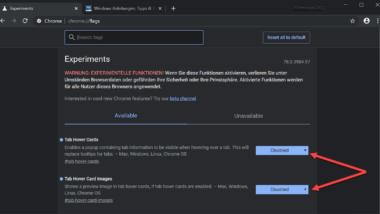 Tab Hover Cards (Vorschauinformation) im Chrome deaktivieren