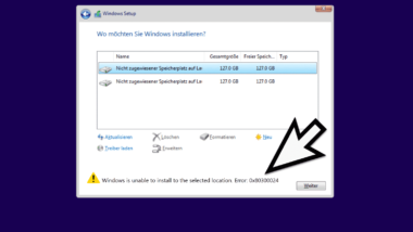 Windows Installationsfehler 0x80300024