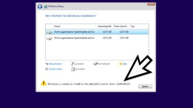 Windows Installationsfehler 0x80300024