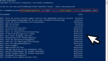 RSAT Tools per PowerShell installieren und installierte RSAT Tools abfragen